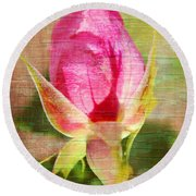 Round Beach Towel featuring the photograph Vintage Pink Rose Bud by Judy Palkimas