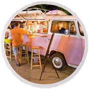 Vintage Pink Volkswagen Bus Round Beach Towel by Luciano Mortula