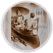Vintage Post Card Of Couple In Boat Art Prints Round Beach Towel