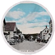 Vintage Postcard Of Wolfeboro New Hampshire Art Prints Round Beach Towel