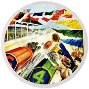 Vintage Poster - Sports - Indy 500 Round Beach Towel