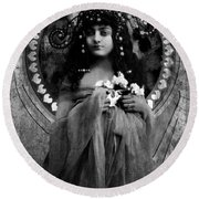 Round Beach Towel featuring the photograph Vintage Princess Bw by Lesa Fine