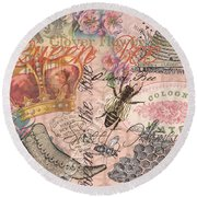 Vintage Queen Bee Collage  Round Beach Towel