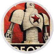 Vintage Russian Robot Poster Round Beach Towel by R Muirhead Art