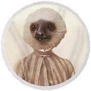 Vintage Sloth Girl Portrait Round Beach Towel