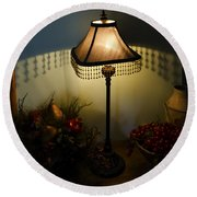 Vintage Still Life And Lamp Round Beach Towel by Greg Reed