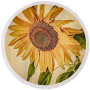 Vintage Sunflower Round Beach Towel