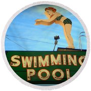 Vintage Swimming Lady Hotel Sign Round Beach Towel