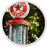 Vintage Texaco Gas Pump Round Beach Towel