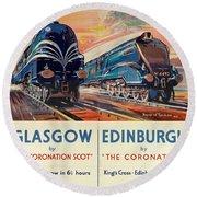 Vintage Train Travel - Glasgow And Edinburgh Round Beach Towel