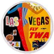 Vintage Travel Poster - Las Vegas Round Beach Towel