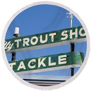 Vintage Trout Shop Sign West Yellowstone Round Beach Towel