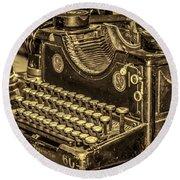 Vintage Typewriter Round Beach Towel