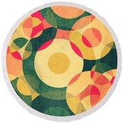 Vintage Vacation Round Beach Towel by VessDSign