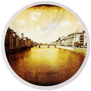 Vintage View Of River Arno Round Beach Towel