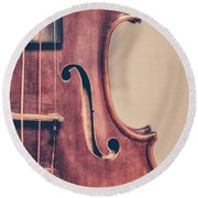 Vintage Violin Portrait 2 Round Beach Towel by Emily Kay