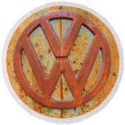 Vintage Volkswagen Bus Logo Round Beach Towel