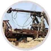 Vintage Water Well Drilling Truck Round Beach Towel