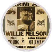 Vintage Willie Nelson 1985 Farm Aid Poster Round Beach Towel