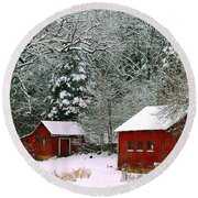 Round Beach Towel featuring the photograph Vintage Winter Barn  by Peggy Franz