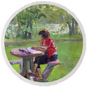 Viola - The Math Teacher Round Beach Towel