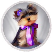 Violet  Round Beach Towel