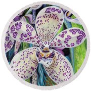 Violet Dotted Orchid Round Beach Towel