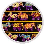 Violet Elephants Round Beach Towel