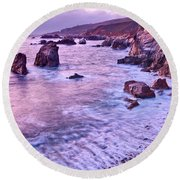 Violet Tides - Rocky Coast From Soberanes Point In Garrapata State  Round Beach Towel