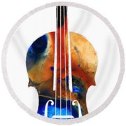 Violin Art By Sharon Cummings Round Beach Towel by Sharon Cummings
