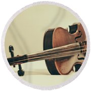 Violin Round Beach Towel by Emily Kay