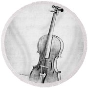 Violin In Black And White Round Beach Towel by Emily Kay