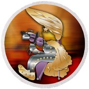 Round Beach Towel featuring the digital art Violin Player by Marvin Blaine