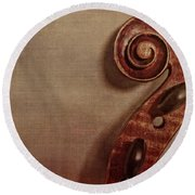 Violin Scroll Round Beach Towel by Emily Kay
