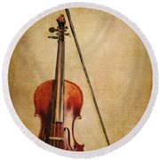 Violin With Bow Round Beach Towel by Emily Kay