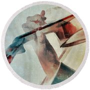 Violinist Round Beach Towel by David Ridley