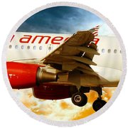 Round Beach Towel featuring the photograph Virgin America A320 by Aaron Berg
