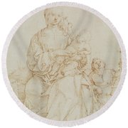 Virgin And Child With Infant St John Round Beach Towel
