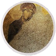 Virgin Mary-detail Of Deesis Mosaic  Hagia Sophia-day Of Judgement Round Beach Towel