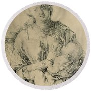 Virgin Mary Suckling The Christ Child, 1512 Charcoal Drawing Round Beach Towel