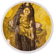 Virgin Mary With Baby Jesus Mosaic Round Beach Towel