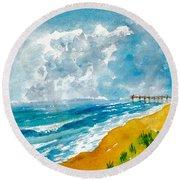 Virginia Beach With Pier Round Beach Towel