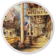 Virginia City Nevada - Western Art Round Beach Towel by Art America Gallery Peter Potter