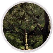 Round Beach Towel featuring the photograph Virginia Dare Statue by Greg Reed