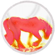 Visible Pink Unicorn Round Beach Towel