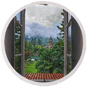 Round Beach Towel featuring the photograph Vision Through The Window by Hanny Heim