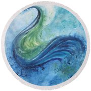 Round Beach Towel featuring the painting Peacock Vision In The Mist by Diane Pape