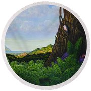 Visions Of Paradise V Round Beach Towel