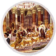 Visit Of Queen Of Sheba To King Solomon Round Beach Towel