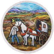 Round Beach Towel featuring the painting Visit The In-laws by Xueling Zou